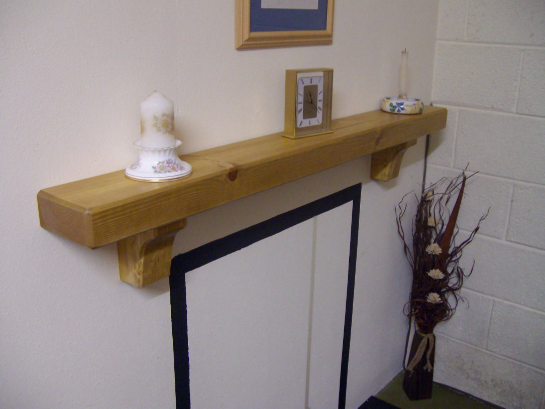 Wooden Mantel Shelf with Corbels