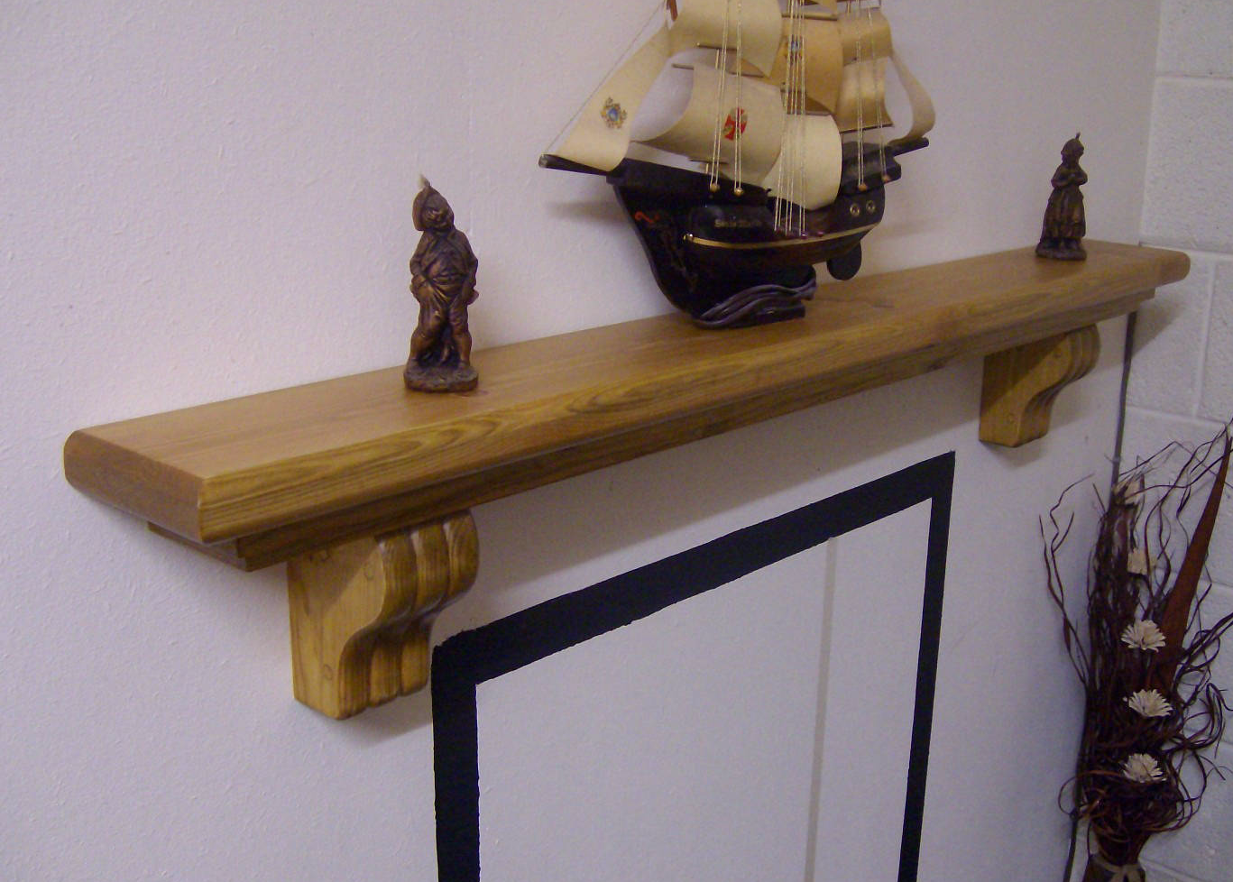 Mantel Shelf and Fireplace Beams over Stove