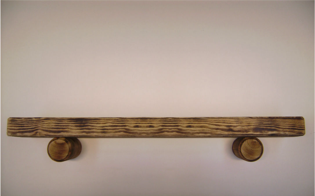 Smoke Effect Mantel Beam with Log Supports